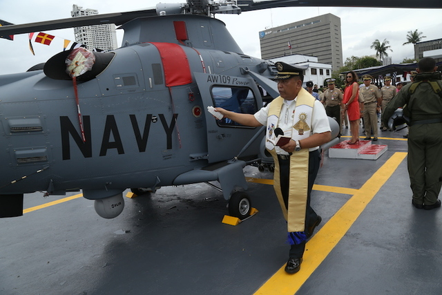 MARITIME SURVEILLANCE. Christening of armed Augusta Westland naval chopper. PH Navy photo