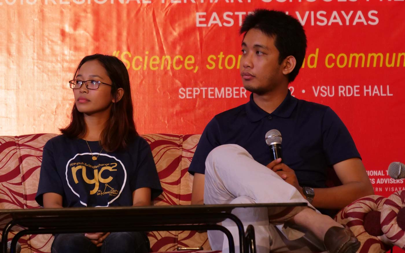 CAMPUS JOURNALISTS. The Amaranth managing editor Hanna Joyce Macawili and adviser Jed Asaph Cortes share how their school publication was trolled online after releasing statements on the Marcos burial. Photo by John Paul Corton