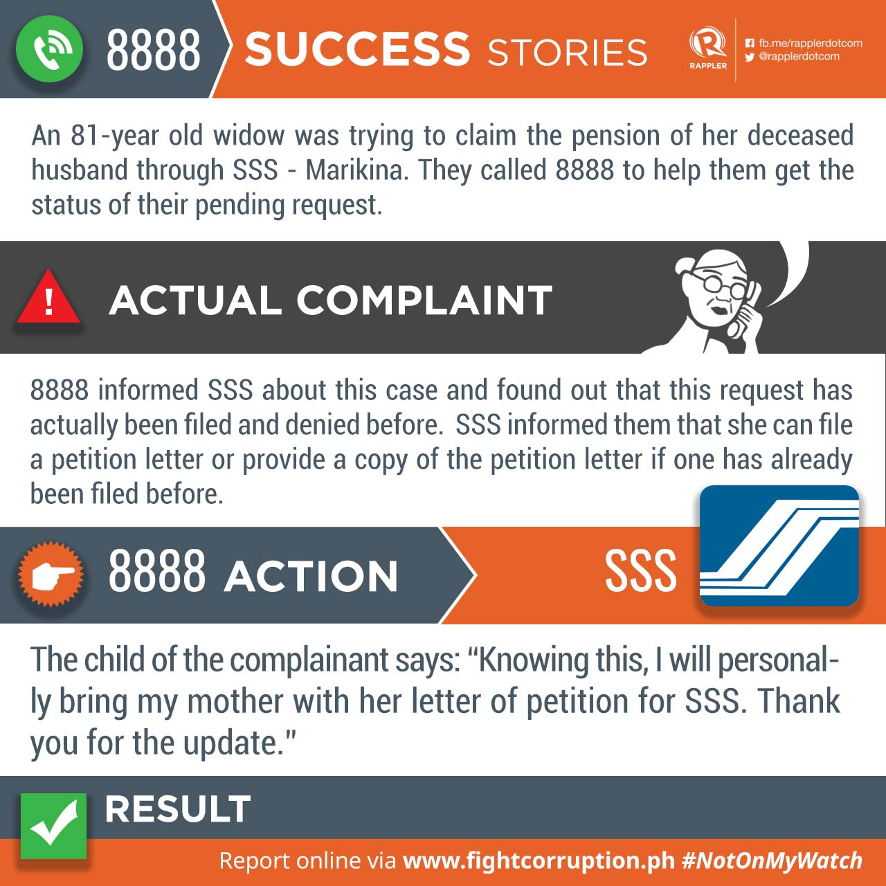 Success stories from the 8888 hotline