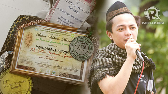 PROMOTING PEACE. Jamil Faisal Adiong, a 21-year-old resident of Lanao del Sur, receives the Sultan Kudarat Award for Peace and Development for his various advocacy efforts aimed at promoting peace in Mindanao. Photo courtesy of Jamil Adiong