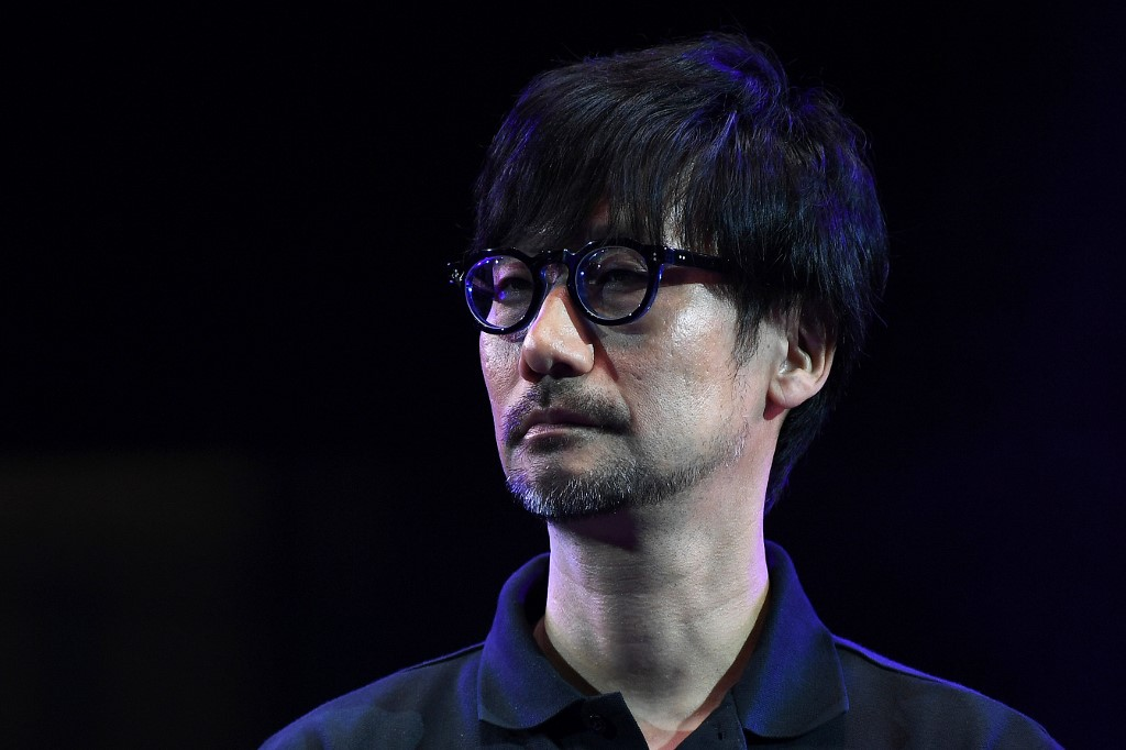 HIDEO KOJIMA. Japanese video game designer, writer, director and producer Hideo Kojima speaks on stage to present his new video game 'Death Stranding' during the Tokyo Game Show in Makuhari, Chiba Prefecture on September 12, 2019.  Photo by Charly Triballeau/AFP