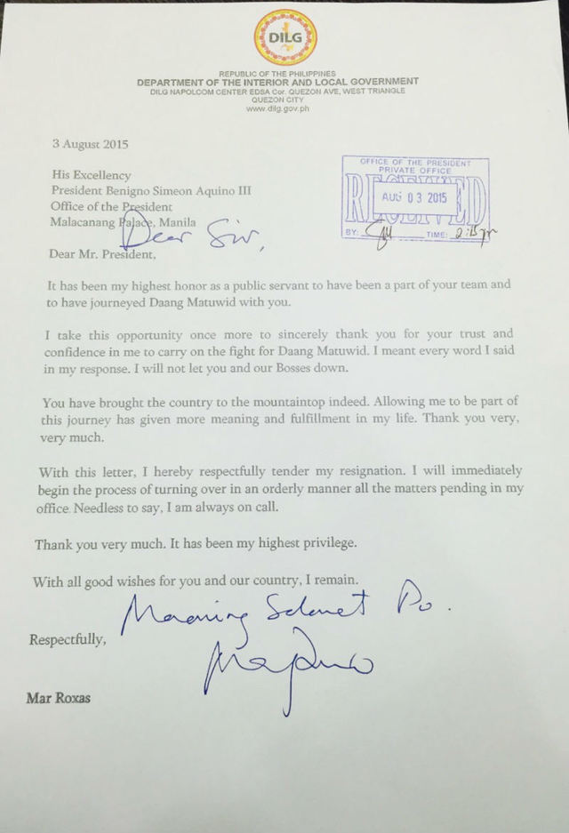 copy of roxas 39 resignation letter as transmitted to the office of