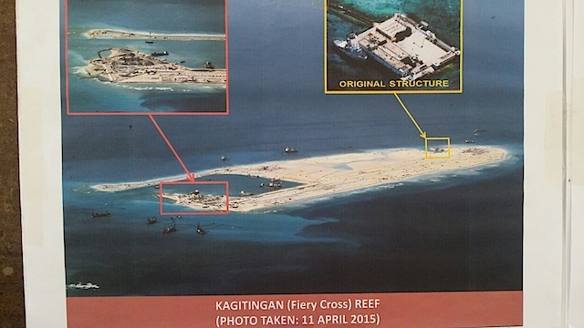 Photo of China's reclamation in Fiery Cross Reef. Courtesy: Armed Forces of the Philippines