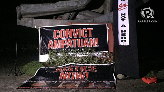 JUSTICE NOW. Signs calling for justice and conviction of the Ampatuans are posted at the Bantayog ng mga Bayani on the 9th anniversary of the Maguindanao massacre on November 23, 2018. Photo by Jaira Krishelle Balboa/Rappler