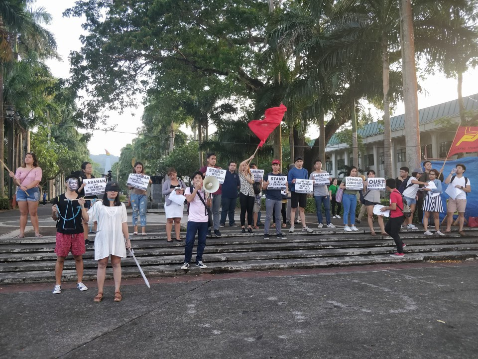 END FASCISM. In this photo, UPLB students converge to protest against the Duterte administration. Photo by Dyl Dalas