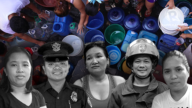 STRUGGLES. People from all walks of life in Pasig City share their experiences and struggles due to the water crisis hitting parts of Metro Manila and Rizal. Photos by Sofia Virtudes, Nicole Del Rosario, Jillian Siervo, and Isabel Lupac/Rappler