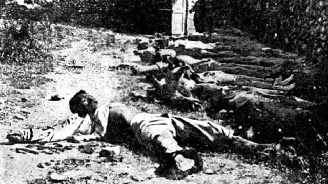 ARMENIAN ATROCITY: Male Victims of the Armenian Genocide and Deportation. Photo from the University of Columbia.