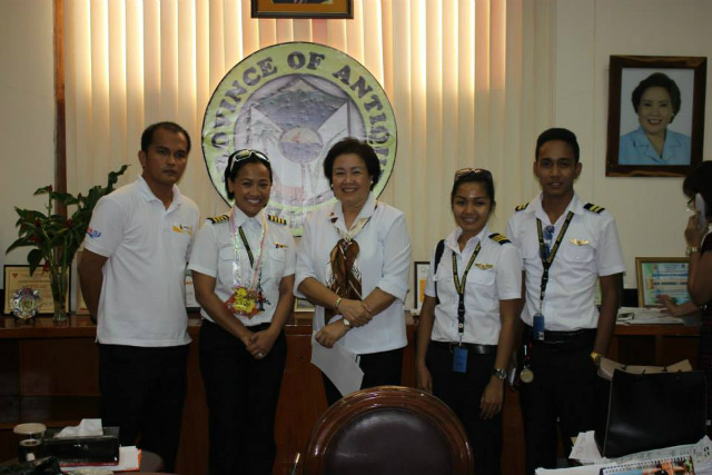 PRIDE OF ANTIQUE. Maria Angelika Solas Pamiroyan (2nd from right) poses with Antique Governor Rhodora Cadiao (center) and Captain Irene Stanon (second from left), among others. Photo provided by authors