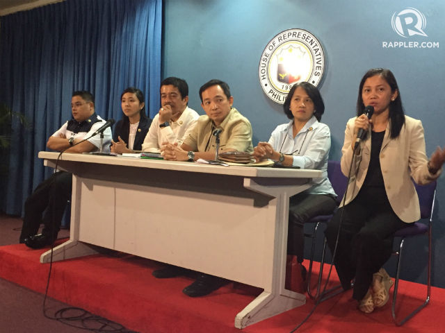 MAKABAYAN BLOC. Representatives Ariel Casilao, Sarah Elago, Carlos Zarate, Antonio Tinio, France Castro, and Arlene Brosas are 6 of the 7-member Makabayan bloc. File photo by Mara Cepeda/Rappler