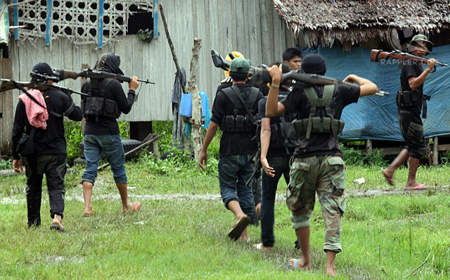 BIFF. Bangsamoro Islamic Freedom Fighters members in their camp in Datu Saudi Ampatuan, Maguindanao in September 2012. File photo by Jeoffrey Maitem/Rappler