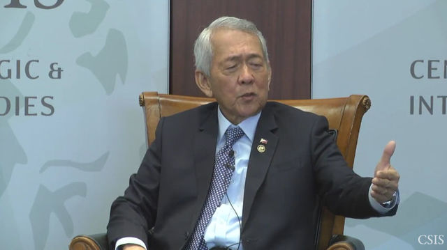 ABOUT CHINA AND THE PHILIPPINES. Philippine Foreign Secretary Perfecto Yasay, Jr discusses bilateral talks with China at a forum in Washington DC on September 15, 2016. Screen shot from YouTube.