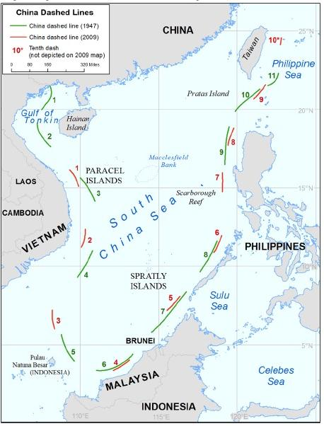 NO BASIS. Legal scholars worldwide say China's 9-dash line is ambiguous and has no legal basis. Map courtesy of the US State Department