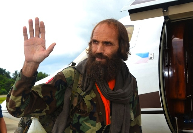 FREE. Kjartan Sekkingstad prepares to board a helicopter bound for Davao City to meet with President Rodrigo Duterte. The Abu Sayyaf freed him after a year in captivity. Photo by Nickee Butlangan/AFP