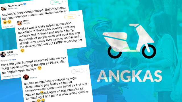 BEATING TRAFFIC. Angkas riders take to social media their frustration over the recent announcement by the LTFRB that the motorcycle ride-hailing app is considered closed.