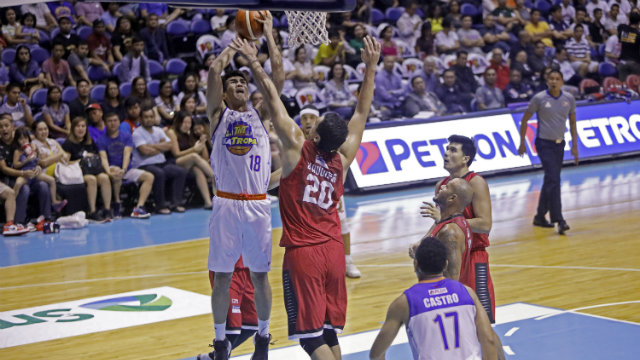 88f6b9af40 Greg Slaughter and Barangay Ginebra manhandled TNT in Game 1. Photo by