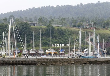 ABDUCTION SITE. Yachts are seen at the marina of the Holiday Oceanview resort in Samal island on September 23 2015. Two days earlier, armed men abducted 4 people from the site. Photo from EPA