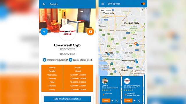 DEPOTS. An actual interface of the SafeSpacesPH App showing the location of depots with the free condoms. Photo from LoveYourself