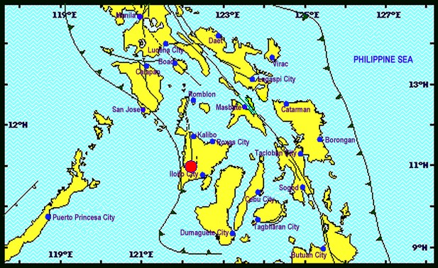 The epicenter of the earthquake in the southern part of Panay island, according to the Philippine Institute of Volcanology and Seismology.