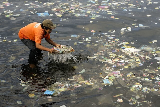 PLASTIC TIDE. A rubbish collector gathers floating plastic garbage in Manila Bay. Photo by EPA/Ritchie B. Tongo