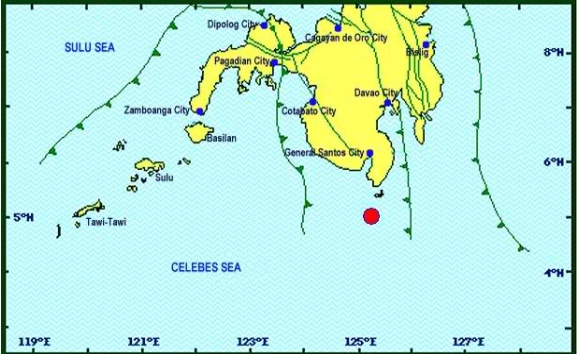 DAVAO OCCIDENTAL EARTHQUAKE. The earthquake is tectonic in origin and has a depth of 57 kilometers, according to Phivolcs. Image courtesy of Phivolcs