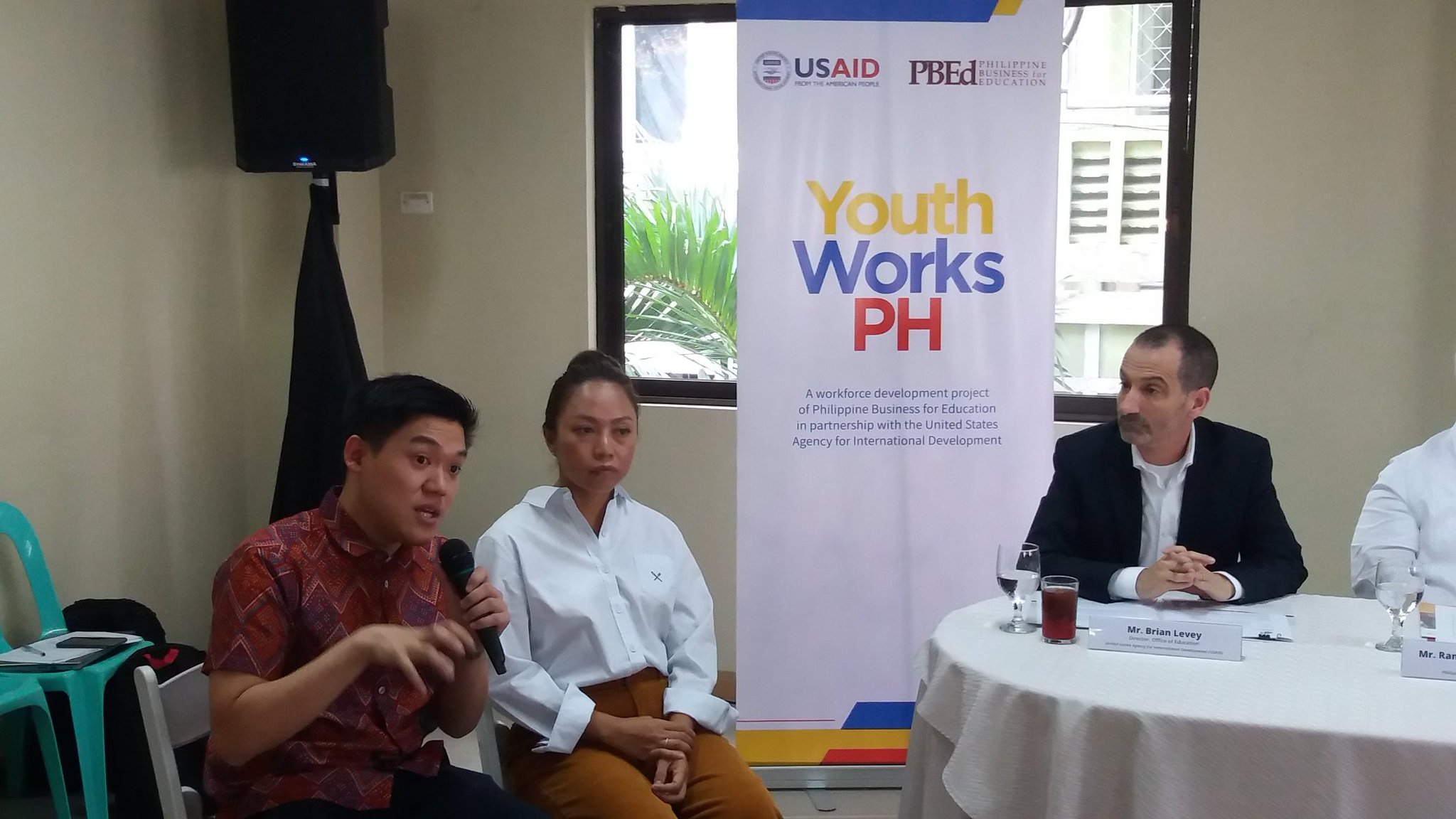 WORK READY. YouthWorks PH key officials give updates during a roundtable on May 17. Shown are (from left) YouthWorks Chief of Party Karol Mark Yee, PBEd Executive Director Love Basillote, USAID Office of Education Director Brian Levey Photo by Nicole Anne Del Rosario/Rappler