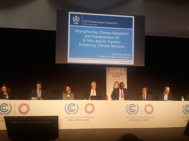 Panel diskusi COP 20, di Lima, Peru, diskusikan dampak perubahan iklim bagi petani dan nelayan. Foto oleh Uni Lubis