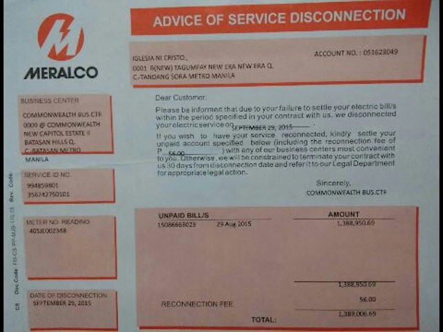 After P1m Unpaid Meralco Bill Power Cut In Inc Manalo House