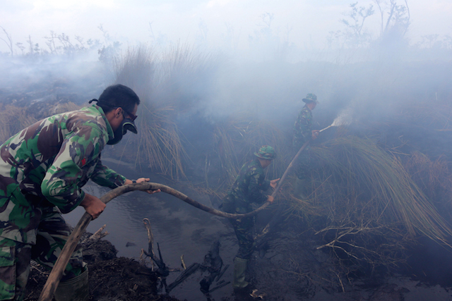PEMADAMAN API. Seorang tentara sedang menyemprotkan air ke api yang membakar hutan di kawasan Ogan Komering Ilir, Sumatera Selatan, 12 September 2015. Foto oleh Tamy Utari/EPA