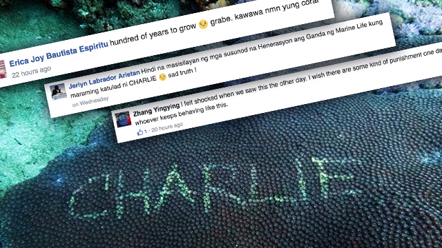 WHO'S CHARLIE? The #FindingCharlie hashtag made waves on social media after the name was vandalized on coral reef. Photo courtesy of Vince Tenchavez