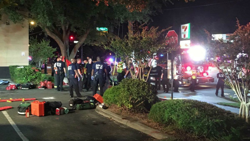 FLORIDA SHOOTING. A handout photograph made available by Univision Florida Central showing a view of the general scene of a shooting at Pulse Nightclub in Orlando, Florida, USA, 12 June 2016. Photo by Univision Florida Central/EPA