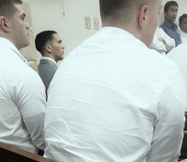 FIRST PUBLIC APPEARANCE. US Marine Lance Corporal Joseph Scott Pemberton appears in an Olongapo court over the alleged murder of transgender Filipino Jennifer Laude on December 19, 2014. Photo courtesy of Marilou Laude