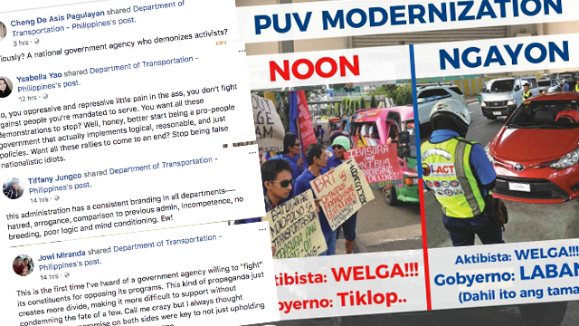 Netizens cry foul over DOTr's social media post on PUV modernization program.