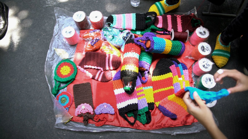CROCHET. Nanay Ely sells her knitted products for P100 to P300 each