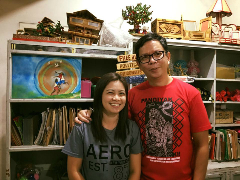 FREE. Former film student Maricon Montajes poses with former UP College of Mass Communication Dean Rolando Tolentino. Photo courtesy of Rolando Tolentino