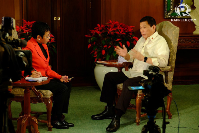 ISIS-RELATED? President Rodrigo Duterte tells Rappler's Maria Ressa on December 29, 2016, that terrorist group ISIS is linked to the Midsayap and Davao bombings. Photo by Beth Frondoso/Rappler