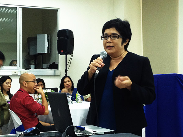 DISASTERS. Manila Observatory executive director Antonia Loyzaga discusses the role of NGOs and CSOs building resilience among communities. Photo by Aika Rey/Rappler