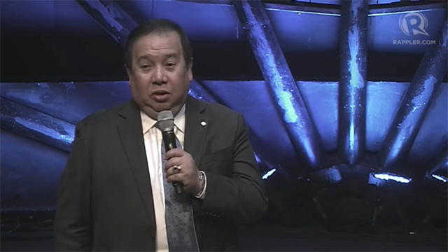 GEARING UP VS DISASTERS. Senator Richard Gordon, Philippine Red Cross chairman, speaks at Rappler's AGOS summit on disaster preparedness on July 8. Photo by Rappler