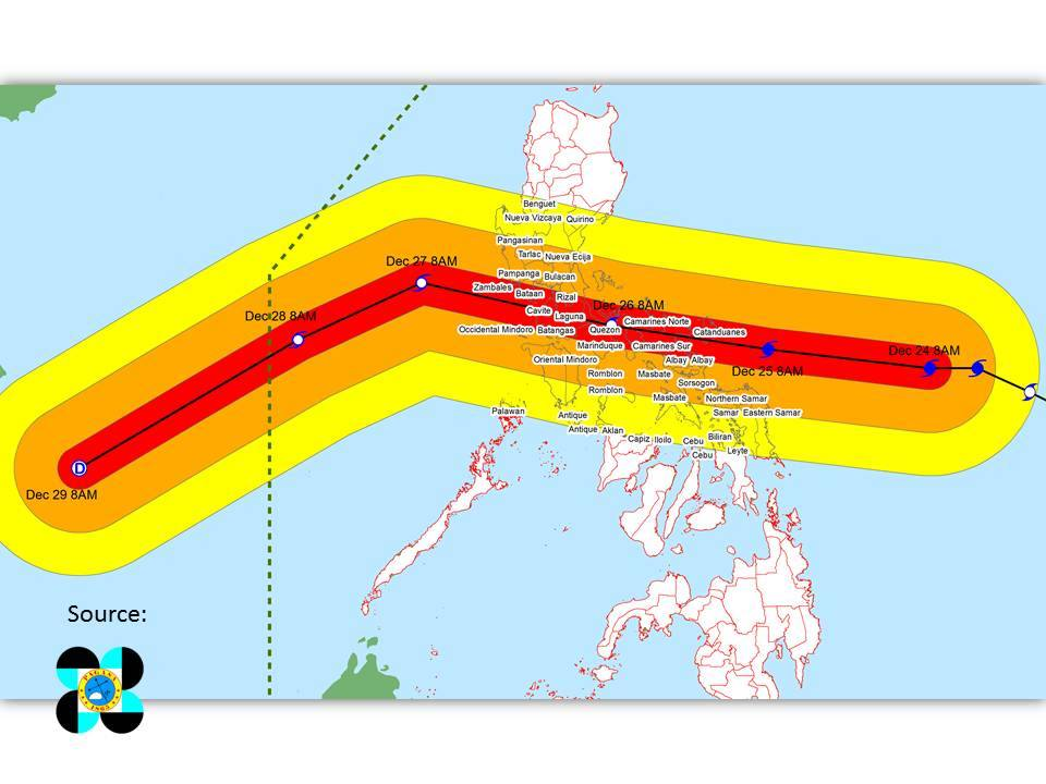 STORM TRACK. At least 39 provinces are affected by Typhoon Nina. Graphics courtesy of DILG-CODIX