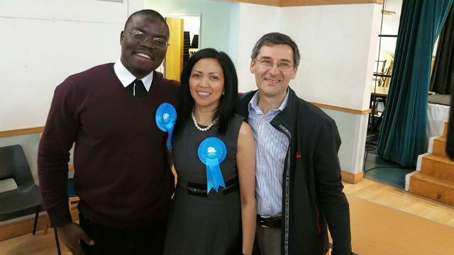 HISTORIC WIN. Conservative party member Cynthia Barker becomes the first Filipina elected Borough Councilor in Hertsmere in this 2015 United Kingdom elections. Photo from Gene Alcantara's Facebook page