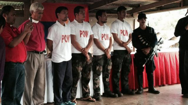 "RELEASED. The 4 policemen captured and declared ""prisoners of war"" are released by the NPA on July 29. Photo obtained by Rappler"