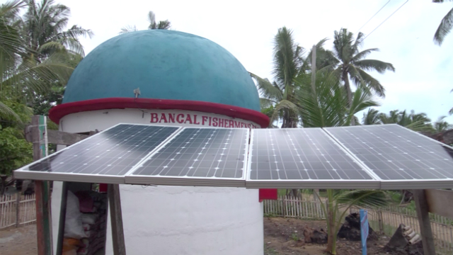 GO SOLAR. Solar panels are placed outside the charging station in Barangay Bancal in Carles. The charging station's design can withstand extreme weather conditions. Photo by David Lozada