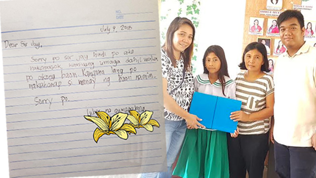 NEW BEGINNINGS. Ruby Gervacio (leftmost), Secretary of Anak ng Bongabon Foundation, Inc. giving the documents of financial support to Marinel (second to the left), alongside her mother (second to the right) and teacher, Ordoña (rightmost).