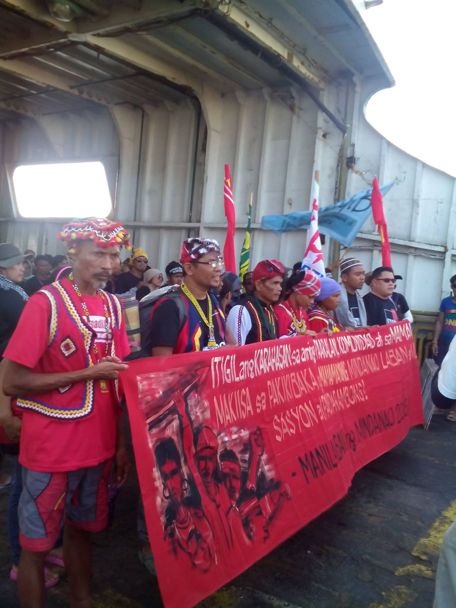 MANILAKBAYAN. About 700 Lumad from militarized indigenous communities in Mindanao arrive in Bicol en route to Manila. Photo courtesy of Bayan-Bicol