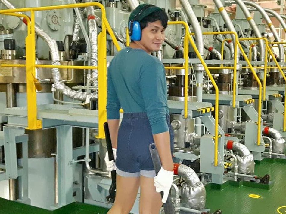 DYOSA MAKINISTA. Her colleagues on board fondly started calling Aljon as 'Dyosa Makinista' – the machinist goddess.