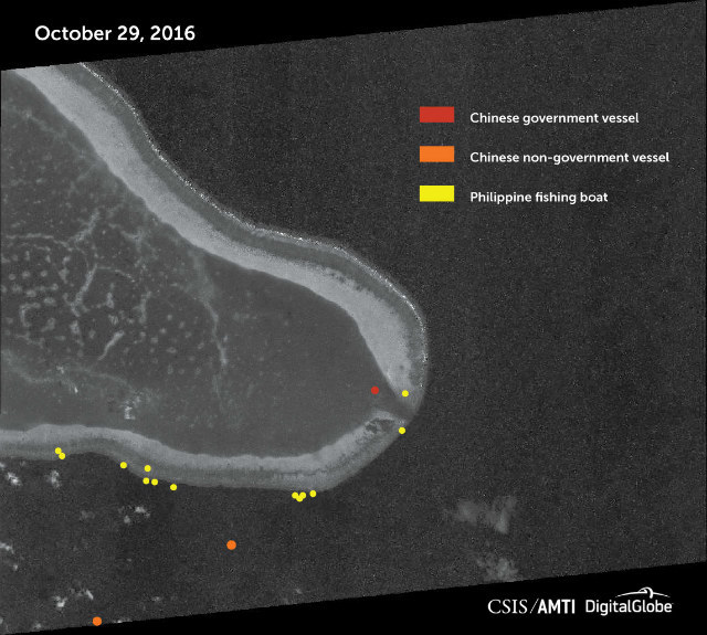 CHINA IN PANATAG. China is still blocking Filipino fishermen's access to Panatag Shoal (Scarborough Shoal), new photos suggest. This image shows Panatag Shoal on October 29, 2016. Photo courtesy of CSIS/AMTI and DigitalGlobe