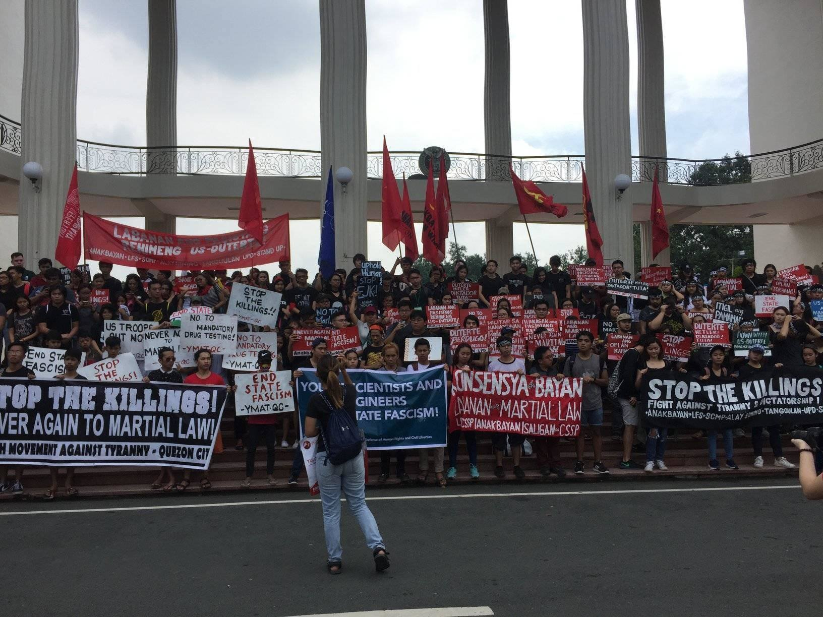 NEVER AGAIN. Hundreds of UP students and progressive youth groups gather at Quezon Hall in UP Diliman for the 45th martial law anniversary protest. Photo by Danielle Nakpil