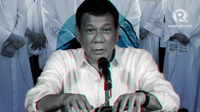 Priests photo by Eloisa Lopez/Rappler; Duterte photo from Malacañang