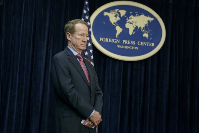TOP OFFICIAL. US Assistant Secretary of State William Brownfield listens during a briefing at the Foreign Press Center on February 24, 2015, in Washington, DC. Photo by Brendan Smialowski/AFP