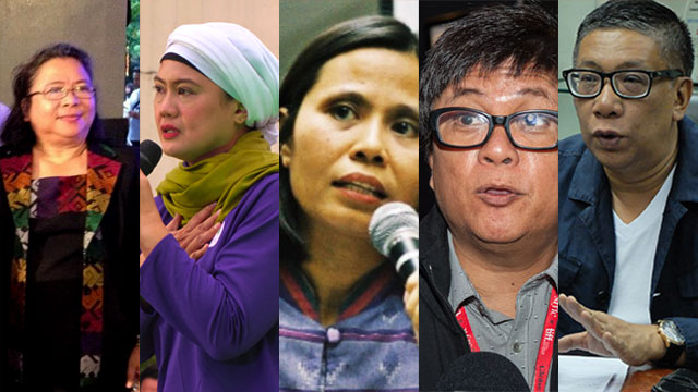 AWARDEES (from left): Carolyn Arguillas, Samira Gutoc, Nona Andaya-Castillo, Jeffrey Jeturian, and Florencio 'Floy' Quintos