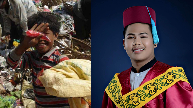 TRIUMPHANT. Jeb Baclayon Bayawon as a child working in a landfill, and as a fresh graduate. Photo grabbed from Bayawon'€™s Facebook profile